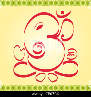Indian God OM Ganesha design with artistic border - Stock Photo
