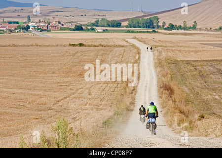 pilgrims on the Way of St. James biking or walking through stubble fields between Gra��n and Redecilla del Camino, - Stock Photo