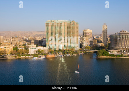 View of the Nile & downtown Cairo from Zamalek - Stock Photo