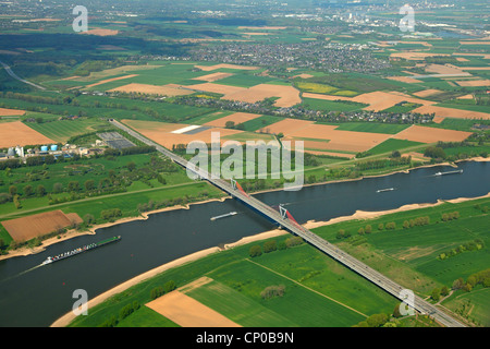motorway bridge crossing Rhine, Germany, North Rhine-Westphalia, Meerbusch - Stock Photo