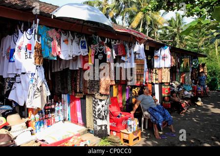 Market Stalls at Goa Gajah Temple, Ubud, Bali, Indonesia. - Stock Photo
