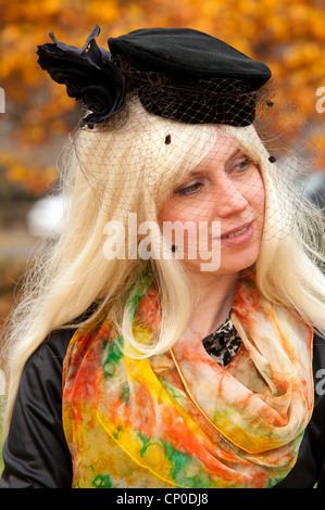 attractive woman in a fashionable hat against the autumn landscape - Stock Photo