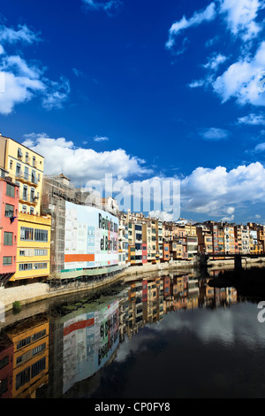 Colorful old town houses over the river in Girona, Spain - Stock Photo