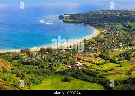 Helicopter view over Hanalei Bay and coastline. Kauai, Hawaii - Stock Photo