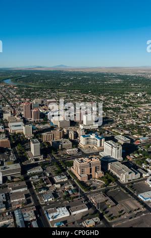 Albuquerque viewed from a hot air balloon. New Mexico USA - Stock Photo