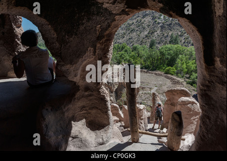 Yapashi Ruins Bandelier National Monument New Mexico  Southwest Frijoles Canyon USA - Stock Photo