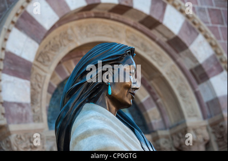 Statue of Kateri Tekakwitha. Santa Fe's St. Francis of Assissi Cathedral New Mexico. USA - Stock Photo
