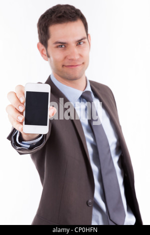 Young cuacasian businessman showing something on a smartphone, isolated on white background - Stock Photo