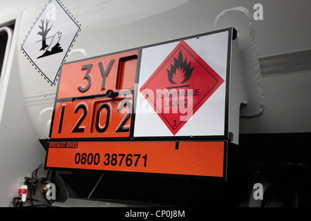 Safety sign on an Oil Tanker showing flammable liquid - Stock Photo