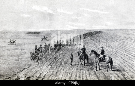 A bonanza farm, a phrase used in US in the 1870s, referred to very large farms harvested mostly wheat, plowing here. - Stock Photo