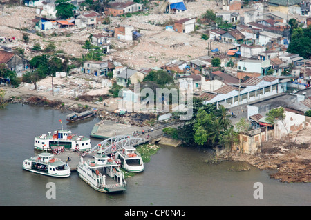 Horizontal aerial view of the fated Thủ Thiêm or Thu Thiem ferry boats, before it's closure in Ho Chi Minh City - Stock Photo