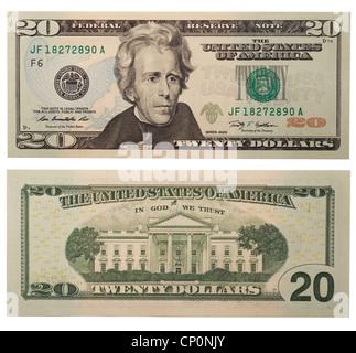 Twenty dollar bill, back and front - Stock Photo