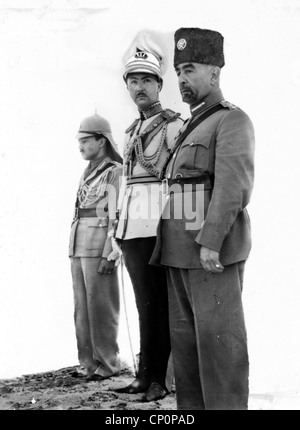 Coronation of King Abdullah in Amman. King Abdullah, Emir Abdul Illah (Regent of Iraq), and Emir Naif (King Abdullah's - Stock Photo