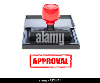 A red approval stamp on a white background with grunge stamp. - Stock Photo