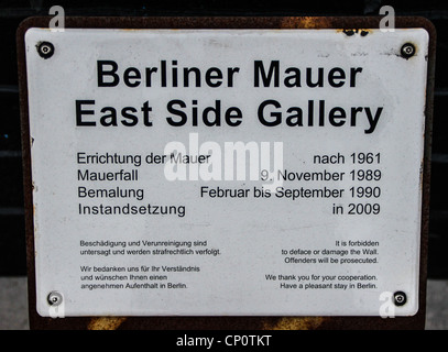 Plaque of the East Side gallery at the Berlin Wall in Germany