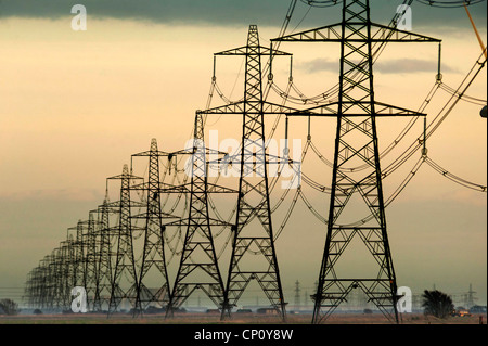 Electricity pylons in southern England. - Stock Photo