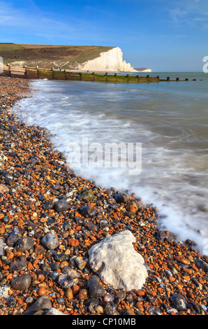 Seven Sisters in East Sussex captured from the beach at Cuckmere Haven - Stock Photo