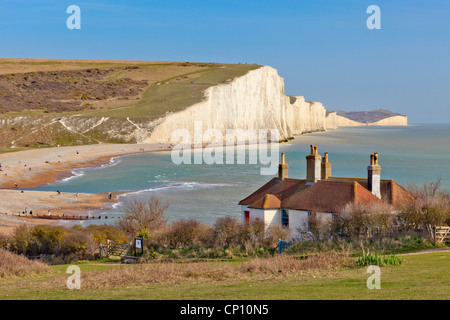 Seven Sisters in East Sussex captured from Cuckmere Haven - Stock Photo