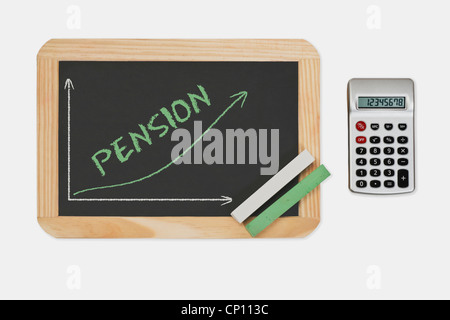 Chalkboard, a chart with an increasing curve. On the chalkboard is the word Pension. Pocket calculator at the right - Stock Photo