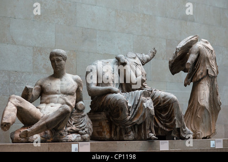 Dionysos, God of Wine; and other Greek statues forming part of the Elgin Marbles - British Museum, London, England. - Stock Photo