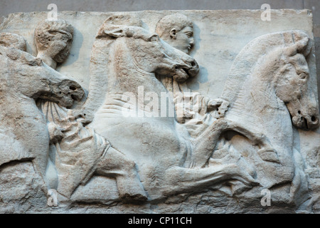 England, London, British Museum, Elgin Marbles from the Parthenon in Athens 4th century BC. - Stock Photo