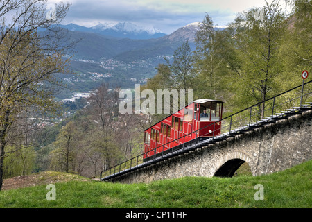 Funicular, Monte Bre, Lugano, Ticino, Switzerland - Stock Photo