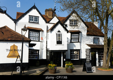 The Bell pub, East Molesey, Surrey. UK. The Bell public house, built Circa 1460, is one of oldest English pubs / - Stock Photo