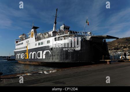Car ferry boat Medmar, Ischia-Pozzuoli, ithe harbour of Pozzuoli, Naples, Italy - Stock Photo