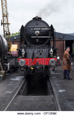 Tornado in the yard at the Llangollen steam railway during SSS 3 - Stock Photo