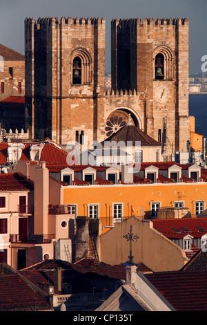 Sé de Lisboa Cathedral seen from Elevador de Santa Justa, Lisbon, Portugal - Stock Photo
