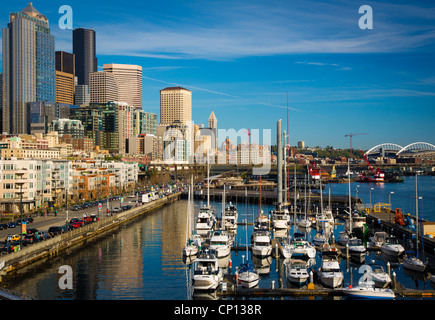 Seattle waterfront from Pier 66 - Stock Photo