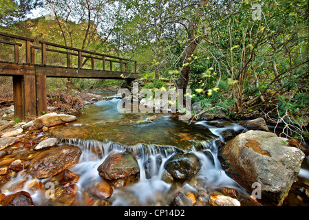 Walking in the gorge of Kambia, the most beautiful trail, on the north part of Chios island, Northeast Aegean, Greece - Stock Photo