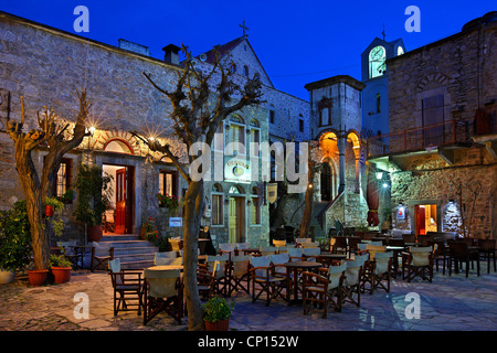 The square of  the medieval village of Mesta, one of the most beautiful 'mastichochoria' ('mastic villages'), Chios, - Stock Photo