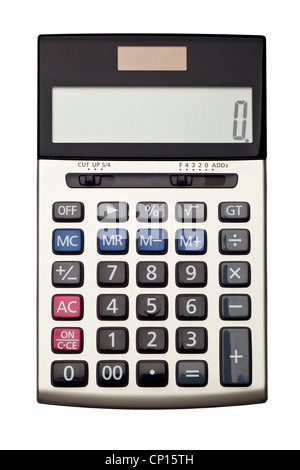 Top view of a calculator isolated on white background - Stock Photo