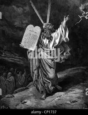 Moses, Hebrew prophet, full length, comming from Mount Sinai, wood engraving by Gustave Doré to 'The Bible', circa - Stock Photo