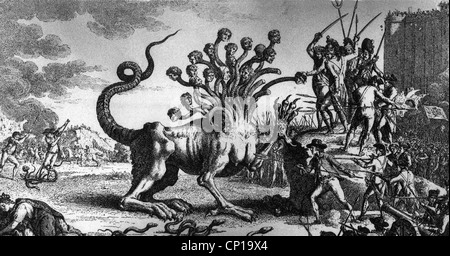 geography / travel, France, revolution 1789-1799, caricature 'Patriotic monster hunt', copper engraving by Roze - Stock Photo