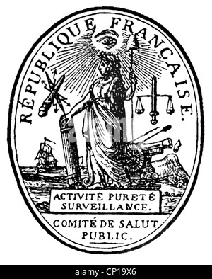 geography / travel, France, revolution 1789-1799, emblem, seal of republic, 1793, 18th century, historic, historical, - Stock Photo