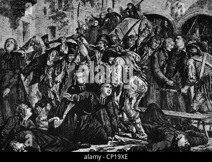 geography / travel, France, revolution 1789 - 1799, September Massacres 2. - 6.9.1792, massacre on 200 clergymen, - Stock Photo