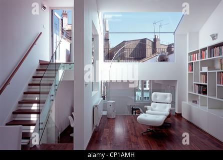 Open plan attic conversion in house on Portobello Road, London, UK. - Stock Photo