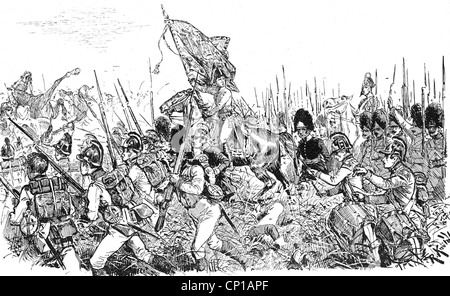 events, War of the Fifth Coalition, 1809, Battle of Aspern-Essling, 21./22.5.1809, Archduke Charles with the flag - Stock Photo