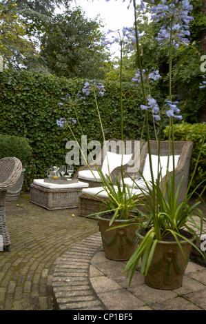 Armchairs in garden with pot plants, Nettie, the Hague, Netherlands. - Stock Photo