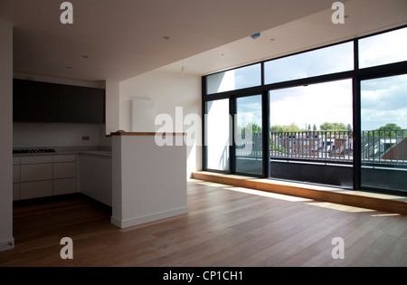 Large Empty Kitchen And Living Area Penthouse In Modern Apartments Hampton Wick Doors
