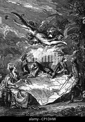 geography / travel, Poland, partitions of Poland, The First Partition: 1772, allegory, contemporary copper engraving - Stock Photo