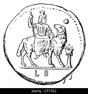 Zeus (Latin: Jupiter), Greek 'divine king', leader of gods, god of sky and thunder, verso of a bronze coin from - Stock Photo