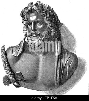Zeus (Latin: Jupiter), Greek 'divine king', portrait, 'Zeus of Dodona', wood engraving after a bronze bust, 19th - Stock Photo