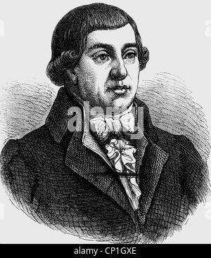 Buerger, Gottfried August, 31.12.1747 - 8.6.1794, German author / writer, portrait, wood engraving, 19th century, - Stock Photo