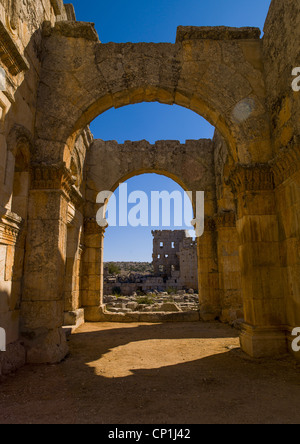 Arches of Qalaat Samaan In The Church of Saint Simeon , Syria - Stock Photo