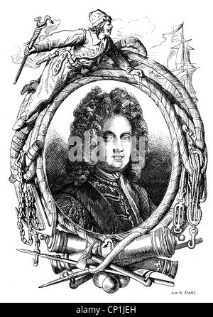 Mordaunt, Charles, 1658 - 25.10.1735, 3rd Earl of Peterborough, English politician and general, portrait, wood engraving, - Stock Photo