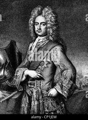 Mordaunt, Charles, 1658 - 25.10.1735, 3rd Earl of Peterborough, English politician and general, half length, copper - Stock Photo