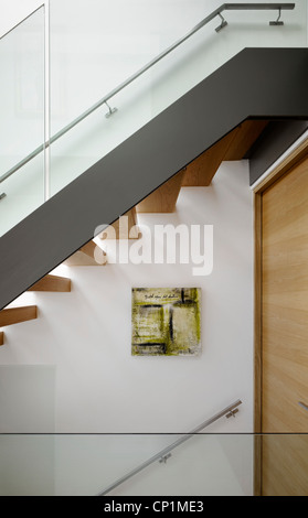 Staircase detail in private house in Worsley, Salford, Greater Manchester, England, UK. - Stock Photo